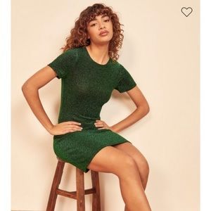 Reformation Amina dress in Green Sparkle - new!